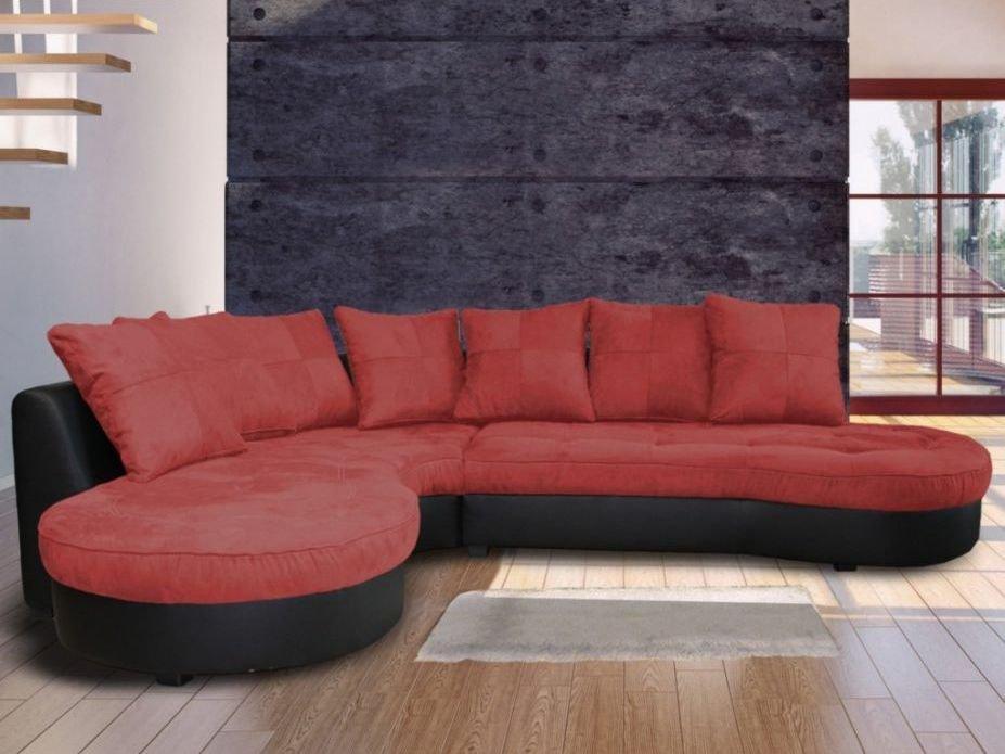 Sofá esquinero bicolor, en negro y rojo